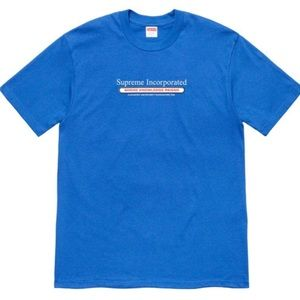 Supreme Mens Blue  INC. Tee Short Sleeve T-Shirt